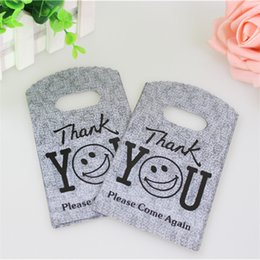 Wholesale Thank Plastic Bags - Wholesale-Hot Sale New Design Wholesale 50pcs lot 9*15cm Good Quality Grey Mini Thank You Gift Bags Small Plastic Shopping Bags