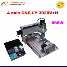 Wholesale Cnc Engravers Routers - Wholesale- 2017 New 4 axis Mini CNC3020 Metal engraving machine, 3020 CNC Router, 2030 CNC 800W spindle, mini CNC Engraver for woodworking