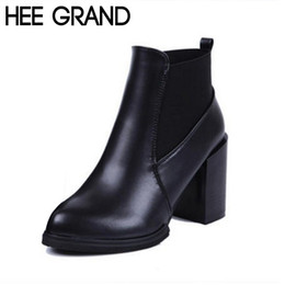 Wholesale Red Riding Boots - Wholesale-HEE GRAND Autumn Winter Women Boots Fashion Slip on Thick Heel Artificial Leather Women Ankle Riding Boots Plus Size 40 XWX3882