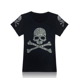 Wholesale T Shirts Rhinestones Wholesale - Wholesale-New 2016 Short Sleeve Cotton Diamond Skull T shirt Women Fashion Tops & Tees Blingbling Rhinestone lager size shirts women A2257