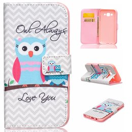 Wholesale Galaxy Wave Pouch - Owl Always Love You Wave Design Pu Leather Flip Stand Wallet Card Slots Pouch Cover Case For Samsung Galaxy J5 J500H J500M New