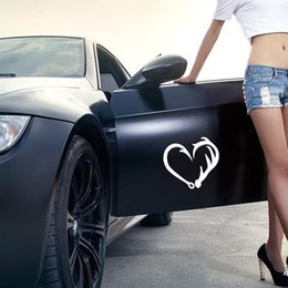 Wholesale Hook Jdm - Car Stying Cool Graphics Antler Hook Heart Decal Hunting Fishing Car Truck Sticker Pick Car Accessories Decorative JDM