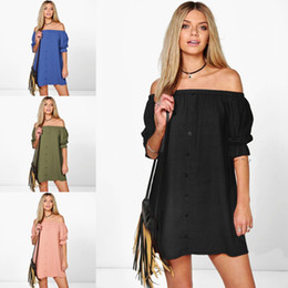 Wholesale Woman Half Shirts Sleeves - 2017 New Fashion Summer Dress for Women Half Sleeve Sexy Off Shoulder Party Dresses Loose Shirt Button Dress CK1128