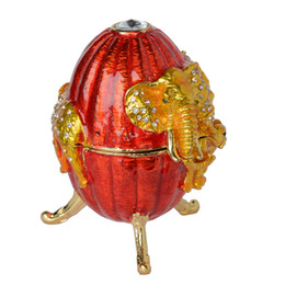 Wholesale Faberge Egg Pendant - Russian craft faberge style elephant on Easter egg bejeweled trinket box metal jewelry box home decor sculpture Christmas gifts