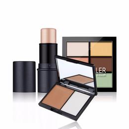 Wholesale Color Value - Wholesale- Value 3pcs Makeup Set Shimmer Stick + Double color stereo bronzing powder + 6 color concealer Face Lips Cosmetics Makeup Kit