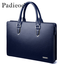 Wholesale Lawyers Briefcase - Wholesale- Classic Leather Briefcases Men Brief Case Lawyer Bag brand Laptop Genuine Leather man bag Business Handbag Satchel Bag 40P