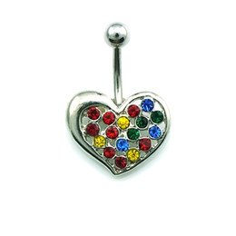 Wholesale Diy Belly Button Ring - Special Style! DIY New Arrival Wholesale High Quality Fashion Metal Colorful Rhinestone Heart Belly Button Rings For Women Body Jewelry