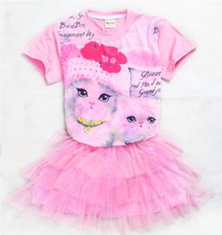 Wholesale 12 Months Girl Red Dress - 2017 Girls Childrens Clothing Sets Short Sleeve tshirts Tulle Skirt 2Pcs Set Summer Cartoon Cat Princess Dresses Enfant Clothes Outfits