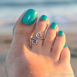 Wholesale Feet Adjustable - Toe Rings Celebrity Women Vintage Simple Toe Ring Adjustable Foot Beach Jewelry Beach fashion show Retro Style Body Jewelry Hot On Instagram