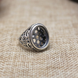 Wholesale Oval Cabochon Settings Silver - Art Nouveau 13x16mm Oval Cabochon Semi Mount Sterling Silver 925 Engagement Men Ring Retro Fine Silver Ring Setting Vintage