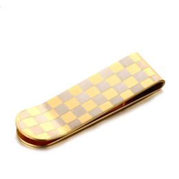 Wholesale Gold Plated Cards - New Fashion Mens Present Gold Plated Stainless Steel Money Wallet Clip Card Gift AAAATL High Quality Plaid Money Clips