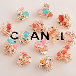 Wholesale Different Shapes - Ms gold-plated Headdress alloy set auger clapws Clip flower and butterfly shape about 10kinds of different shape mixed send