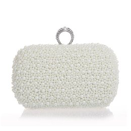 Wholesale Luxury Banquet Dress - Wholesale- 2017 fashion luxury white ivory champagne pearl ring clutch beaded banquet handbag wedding bride clutch prom dress evening bag