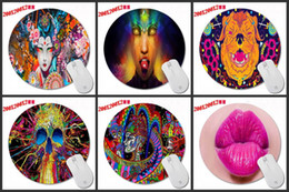 Wholesale Art Pads - 20 * 20 * 0.2 CM DIY personality color art pattern, designed to print circular mouse pads for home office computer optics trackball mouse