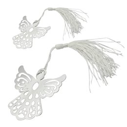 Wholesale Wedding Stationary Wholesale - Wholesale- 2016 Hot Sale Holy Guardian ANGEL Alloy Bookmark Tassels Stationary Christening Wedding Favor Gift (Color: Silver)