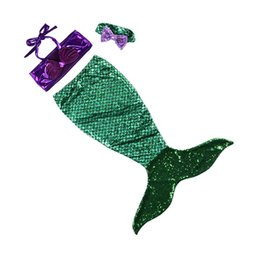 Wholesale Wholesale Childrens Bathing Suits - Newly Baby Kids Swimwear With Headband 2017 Sequins Mermaid Tail Swimsuits Mermaid Cosplay Costume Bikini Bathing Suits Childrens Clothing