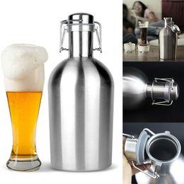 Wholesale Bar Flask - 64oz Stainless Steel Beer Growler Swing Top Hip Flask Ultimate Beer Bottle For Bar Accessories 1.9L