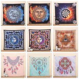Wholesale Decorative Hang Wall - 21 Designs IndianTapestry Psychedelic Sun God Bohemian Elephant Beach Towel Shawl Wall Hanging Decorative Tapestry Picnic Mat CCA5905 10pcs