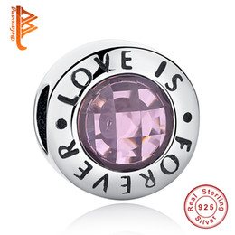 Wholesale Forever Crystals Jewelry - BELAWANG 925 Sterling Silver LOVE IS FOREVER Letter Charm Beads Pink Clear CZ Crystal Beads Fit Pandora Charm Bracelet Jewelry Accessories