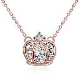 Wholesale Imperial Copper - Rose Gold Plated Girls Imperial Crown Queen Necklace AAA Zircon Fashion Jewelry Necklace Collar Statement Necklace Girl Women Birthday gift
