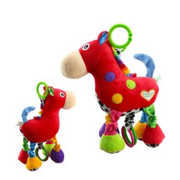 Wholesale Baby Music Pull - Wholesale- Soft Plush Cartoon Animal Rattle Red Horse Music pull bell Toy Newborn Christmas Gift Plush Baby Educational Toys
