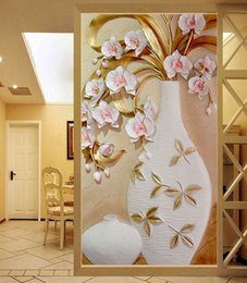 Wholesale Korean Porcelain - Large Custom Flower Vase 3D Murals for Entranceway Painting Porcelain Plum Vase 3d Wall Photo Murals