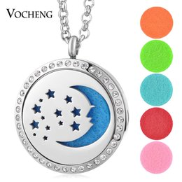 Wholesale Moon Star Pendant Necklace - Essential Oil Diffuser Locket Necklace 316L Stainless Steel Moon Star Magnetic Crystal without Felt Pads VA-327