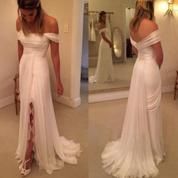 Wholesale Elegant Boho Bohemian Chiffon - Romantic Chiffon Lace Wedding Dresses 2017 Elegant Off Shoulders Pleats Floor Length Boho Bridal Gowns for Summer Beach Bohemian Wedding