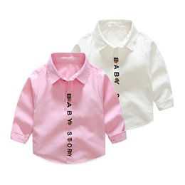 Wholesale Baby Boy Letter Shirt - Korean Autumn Spring baby shirts fall boutique kids shirt gentleman long sleeve shirt boys coat with letter print shirt Wholesale