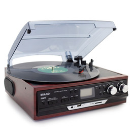 Wholesale Vinyl Records Lp - Freeshipping Stereo Phono Players Turntable Vinyl LP Record Player With AM FM Radio USB SD Aux Cassette MP3 Recorder Headphone Jack
