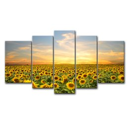 Wholesale Sunflower Oil Painting Canvas - 5 Pieces Canvas Paintings Sunflower Painting Wall Art Flowers Modern Print On Canvas with Wooden Frame For Home Decor as Gifts