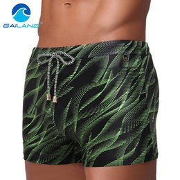 Wholesale Swimwear Men Enhancing - Wholesale- Gailang Brand Men Swimwear Swimsuits Long Basic Swim Boxer Trunks Surf Board Shorts Pad Inside Enhance Front Swimming Tunks XXXL