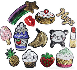 Wholesale Strawberry Iron Patch - strawberry icecream banna rainbow Iron On Patches Embroidered Stickers Applique Hat Bag Clothing shoes Fabric Sewing Crafts DIY