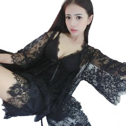 Wholesale Short Nightgowns For Women - Wholesale- 2016 new design summer style three pieces robe nightgown short pants fashion nightwear for women temptation