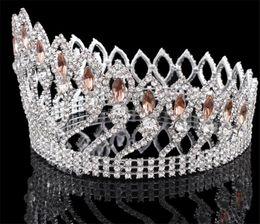 Wholesale Heart Pageant Crowns Tiaras - Vintage Queen Crown Pageant Tiara Wedding Bridal Crystal Rhinestone Headband Round Crown Princess Hair Accessories Jewelry Headpiece Silver