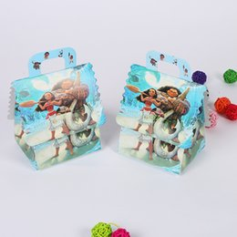 Wholesale Party Bags Boxes - 30pcs Trolls Princess Avengers Masa Sofia Moana Cartoons Party Candy Boxes Birthday Party Favor Supplies + 30pcs Tattoo Sticker