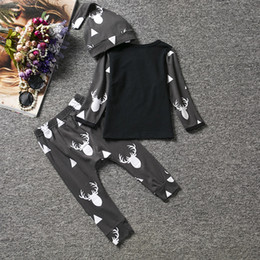 Wholesale Black Top Long Sleeves Girls - Cute Newborn Baby Girl Boy Clothes Deer Tops T-shirt Long Sleeve + Pants Casual Hat Cap 3pcs Outfits Set Babies Sets Fasion