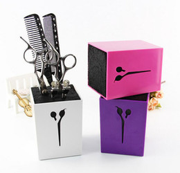Wholesale Hair Clips Adults - Hairdressing Scissors Holder Professional Hair Comb Holder Hair Salon Tools Case Salon Scissors Hair Clips Storage Box Pot ZA1981
