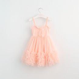 Wholesale Gray Pink Girls Dress - Girls party dress 2017 new children lace ruffle suspender tulle dresses sweet girls lace princess dress pink purple gray white peach