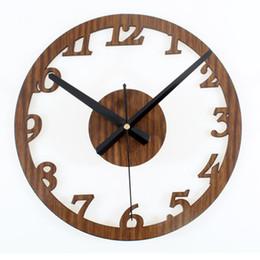 Wholesale Retro Modern Watch - Wall Clock Absolutely Mute Second Clocks Quartz Digital Vintage Metal Retro Roman Numerals Living Room Modern Wall Decorations Watches