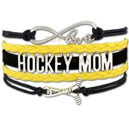 Wholesale Custom Gold Bracelets - Custom-Infinity Love Hockey Mom Bracelets Team Hockey Charm Wrap Gift for Hockey Moms Black Gold Wax Suede Leather any Themes