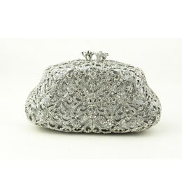 Wholesale Cell Phone Sales Online - Famous Designer White Silver Clutch Evening Bag for Ladies Bridal Handbags Wedding Crystal Clutch Evening Bags for Sale Online