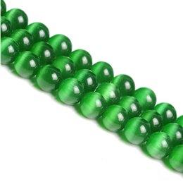 """Wholesale Eye For Diy - 4 6 8 10 12MM Smooth green Cats Eye Beads Natural Stone Spacer Loose beads 15.5"""" Strand Mexican Opal DIY making for bracelet"""