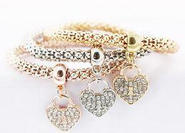 Wholesale Locking Slide Clasp - 2017 Foreign trade jewelry alloy three - color stretch diamond love lock bracelet European and American women 's bracelet