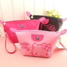 acbea771901c Fashion Women Cute Hello Kitty Makeup Bag Large Capacity Waterproof  Cosmetic Bags 3 Colors Zipper Mini Bag Free