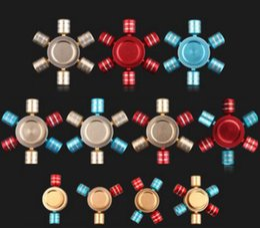 Wholesale Retail Box Aluminium - New 7 Colors Hexagon Hand Spinner Aluminium Fingertips Spiral Fingers Gyro Torqbar Fidget Spinner With Retail Box DHL