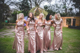 Wholesale Silver Sequin Shirts Cheap - Sparkly Rose Gold Sequin Bridesmaid Dresses 2017 New Cheap Country Wedding Party Dresses Plus Size Long Floor Length Mermaid Prom Gowns