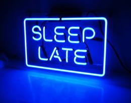 "Wholesale Sleep Glasses - Fashion New Handcraft Neon sign ""Sleep Late"" Real Glass Tubes For Bedroom Home Display neon Lighht sign 14x9!!!"
