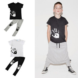 Wholesale Boys Wearing Briefs - INS Baby Boys Palmn Printed T-shirts+Pants Sets Boy Summer Sportwear Kids Casual Wear Cool Loose Clothing