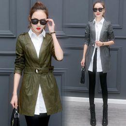 Wholesale Womens Leather Down Jacket - Faux Leather Jacket Women 2017 Autumn Fashion Turn Down Collar Fake Two Piece Womens Windbreakers Army Green Black casaco longo